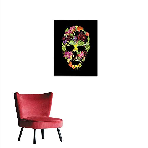 longbuyer Corridor/Indoor/Living Room Scull with Flowers for Halloween Watercolor Mural 20