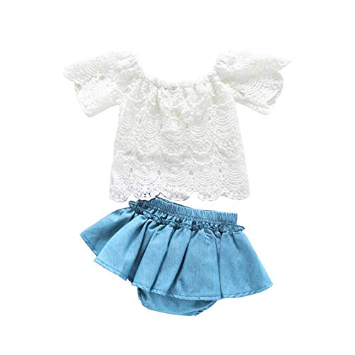 SWNONE 3Pcs/Set Toddler Girls Clothes Outfit Plaid Ruffle Bowknot Shirts Top+Jeans Shorts +Headband (White+Light Blue, 18-24 - Blue Ruffle Dress Girls