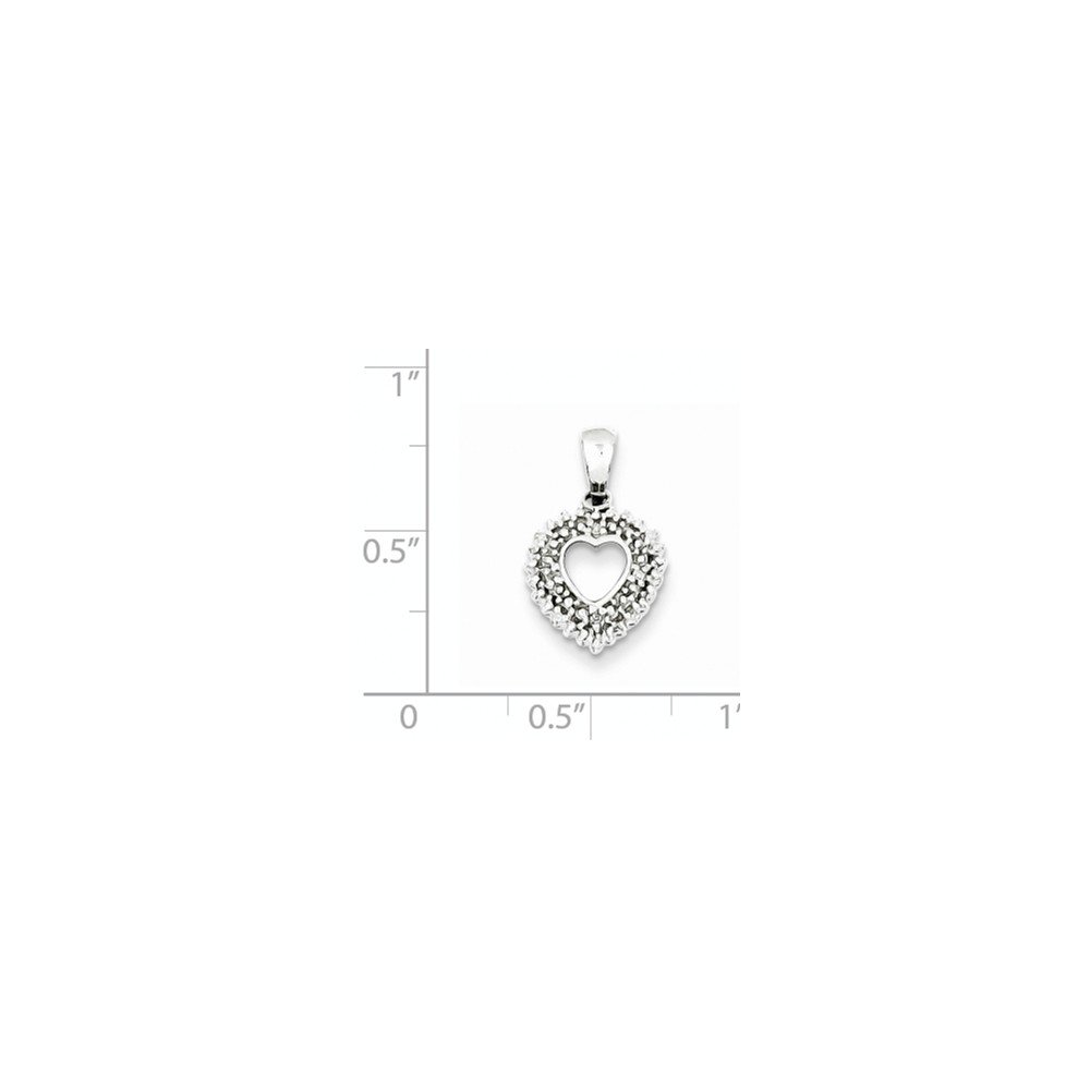Jewelry Stores Network Diamond Heart Pendant in 925 Sterling Silver 18x11mm