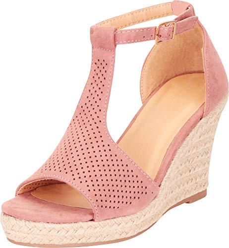 Cambridge Select Women's T-Strap Laser Cutout Perforated Espadrille Chunky Platform Wedge Sandal,6 B(M) US,Dusty Pink IMSU