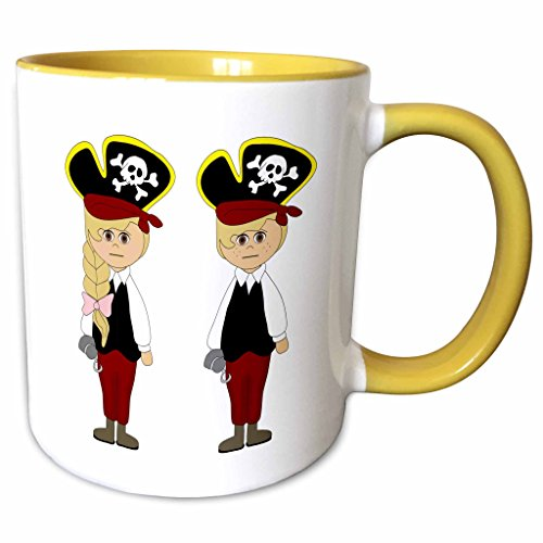 3dRose Anne Marie Baugh - Halloween - Cute Boy and Girl Dressed As Pirates For Halloween Illustration - 15oz Two-Tone Yellow Mug (mug_216818_13) ()