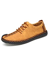 K&T TUCSSON Men's Handmade Suede Leather Oxford Shoes Breathable Driving Shoes British Style Flats Lace-up Loafers Outdoor Casual Sneakers