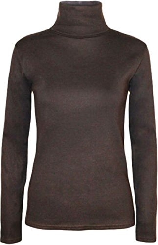 Ladies Long Sleeve Polo Roll Neck Jumper Top Womens Turtle Neck Plain Jumper#(Dark Brown Polo Neck Plain Jumper#US ()