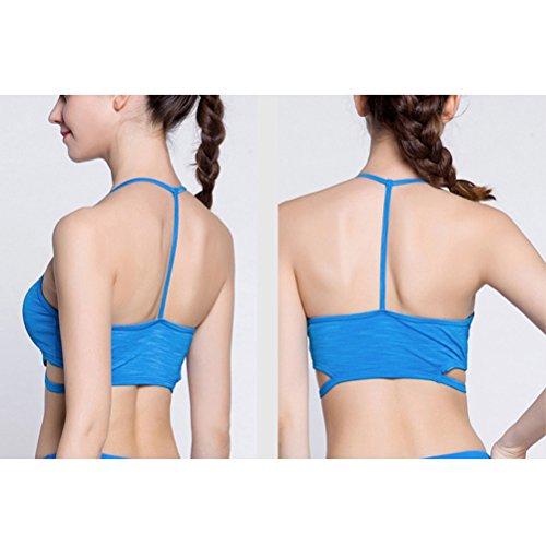 Zhhlinyuan Full Cup Breathable Yoga Bra Vest Women's Professional Athletic Bra Blue