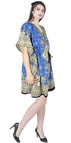 SKAVIJ Kaftan Vestido para Mujer Robe Beach Túnica Vestido Cubrir Caftan Camisón Azul
