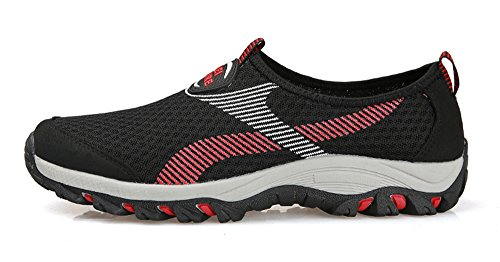 Gaatpot Men's Women's Breathable Mesh Sneakers Casual Slip On Lightweight Fitness Trainers Aqua Shoes Black Red tldPQ3i