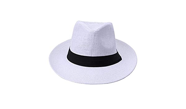 Amazon.com: WEEKEND SHOP Summer Casual Unisex Beach Trilby Large Brim Jazz Sun Hat Panama Hat Paper Straw Women Men Cap with Black Ribbon White: Home & ...