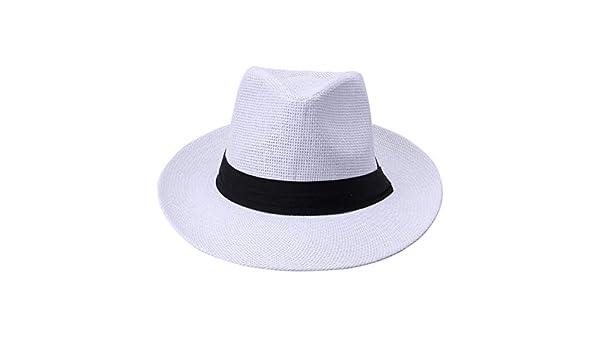 Amazon.com: WEEKEND SHOP Summer Casual Unisex Beach Trilby Large Brim Jazz Sun Hat Panama Hat Paper Straw Women Men Cap with Black Ribbon White: Home & ...