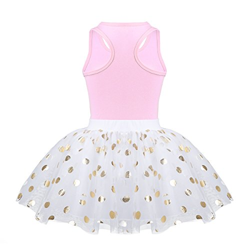 CHICTRY Toddler Little Girls Fancy Sequin Polka Dots Birthday Outfit Racer-Back Shirt with Mesh Tutu Skirt Set Pink 3-4 by CHICTRY (Image #3)