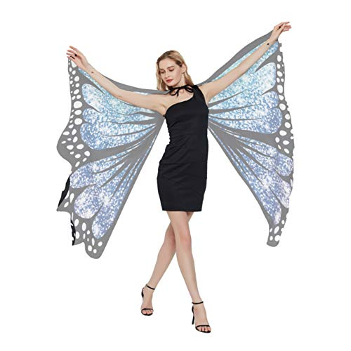 WISREMT Butterfly Wings for Women, Butterfly Shawl Fairy Ladies Cape Nymph Pixie Halloween Dress-up Costume Accessory