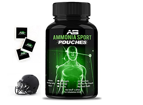 AmmoniaSport: Athletic Smelling Salts - Pouches (20) - Energy Booster - Instant Focus - Preworkout - Intraworkout - Ammonia Inhalant - Smelling Salt - Treat & Prevent Fainting - Nausea Supplement