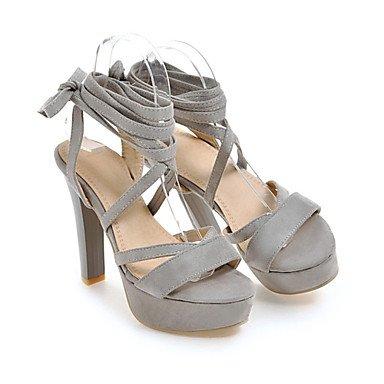 LvYuan Tacón Stiletto-Zapatos del club Gladiador-Sandalias-Informal Vestido-Terciopelo-Negro Rojo Gris Black