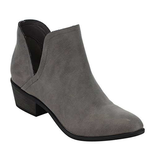 Bella Leather Heels (BELLA MARIE IC62 Women's Side Cut Stacked Block Heel Western Ankle Booties, Color:GREY, Size:6.5)