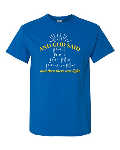 Thread Science and God Said Let There Be Light Physics Science Math Funny Adult Mens Soft T-Shirt (Large, Neon Blue)