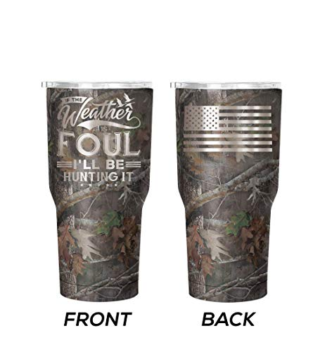 WATERFOWL HUNTING GIFT 30 oz Stainless Steel Double Wall Insulated Double Engraved Tumbler Foul Camo -