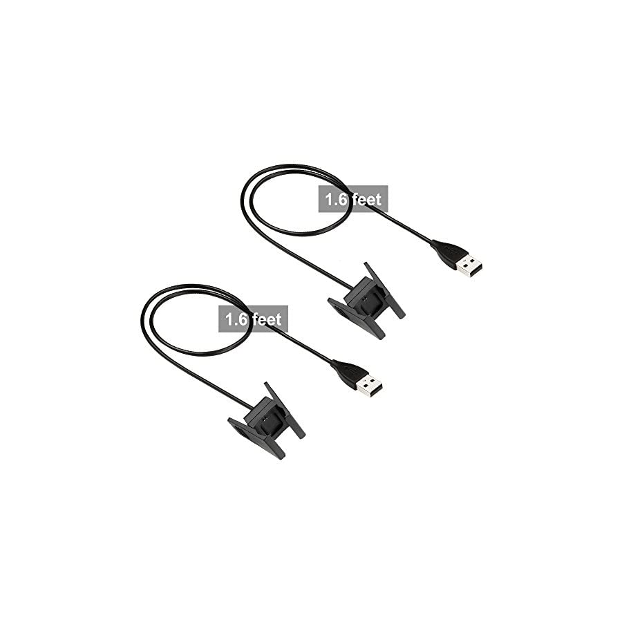 Zacro Fitbit Charge 2 Charger 2Pcs Replacement USB Charger Charging Cable for Fitbit Charge 2 with Cable Cradle Dock Adapter for Fitbit Charge