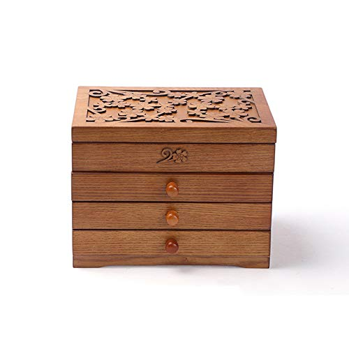 SHKY Real Wood/Wooden Jewelry Box Case - Jewelry Box - Trinket Jewelry Storage Box Old Memory, 2,3,4 Drawers, Thickened Frame, Gift for Loved Ones,F
