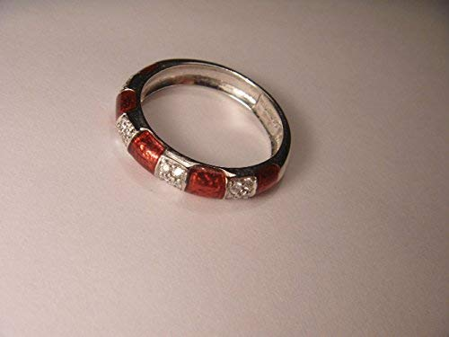 Hidalgo 18K White Gold Diamond Red Enamel Wedding Band - Enamel Diamond Bands