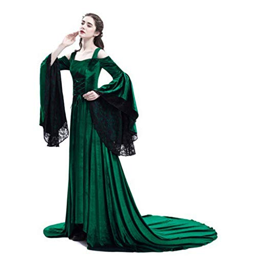 Mikilon Medieval Dress Long Renaissance Costume Gown Irish Over Deluxe Victorian Vintage Cosplay Women Green ()