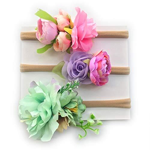 StylesILove Cute Baby Princess Little Girls Hair Accessories Spring Flower Mixed Color Headband 3pcs Set (Green Cherry Blossom Flower)