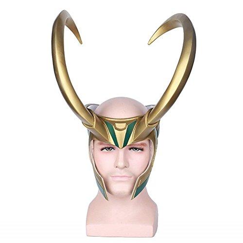 PONGONE Loki Mask-Loki Helmet Halloween Cosplay for Adult PVC Mask Half Face Mask -Golden Giant Horns Helmet -