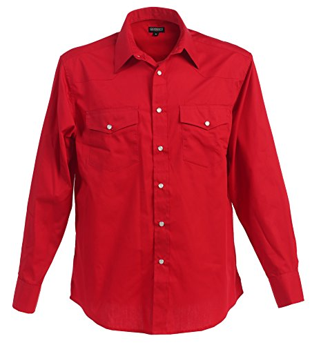 Gioberti Mens Casual Western Solid Long Sleeve Shirt With Pearl Snaps, Red, 5X Large