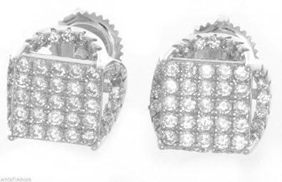 Sterling Silver White CZ Stones 7mm Square Shape Stud Unisex Earrings