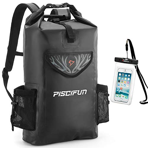 Piscifun Wrapper Dry Backpack with Waterproof Phone Case - Waterproof Floating Black Dry Bag 50L for Fishing, Kayaking, Boating, Swimming, Camping, Hiking