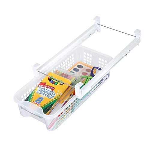 Smart Design Refrigerator Pull Out Bin & Home Organizer w/Extendable Rails & Handle - BPA Free - for Fridges & Freezers Food Storage - Kitchen -