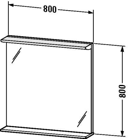 Duravit DN727601818 Mirror 800 14 W with shelf 800 x 170 x 8