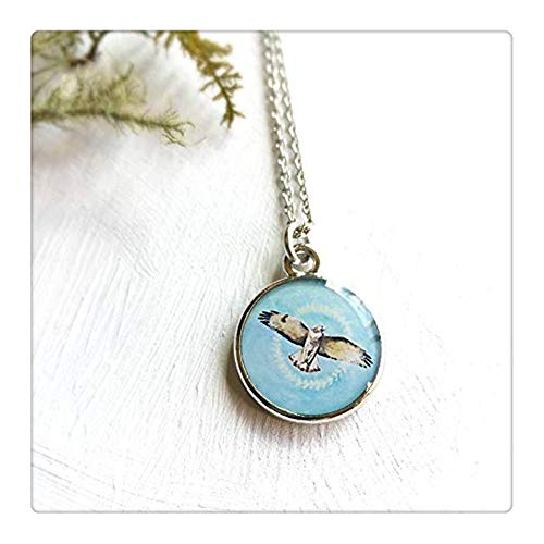 Pink rose Hawk Jewelry, Hawk Necklace, Red Tailed Hawk, Bird of Prey, Spirit Animal, Silver Hawk Necklace