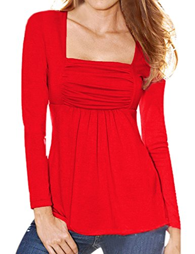 YesFashion Women Ruched Square Neck Slim A-line Top Tunic Dress Shirt Red M (Sexy Western Dress)