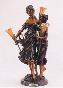 ''Sisters'' 32''H Distinctive Solid Bronze Sculptural Lamp by A. Moreau
