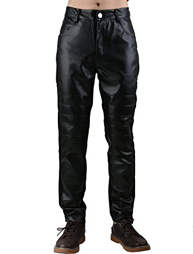 - Allegra K Men Zipper Fly Five Pockets Pleated Imitation Leather Panel Skinny Pants Large Black