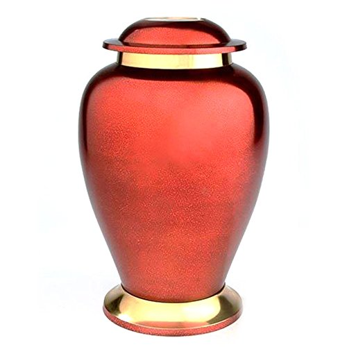 Beautiful Life Urns Eternal Love Adult Cremation Urn - Distinct Brass Funeral Urn with Deep Copper Red Finish (Large)
