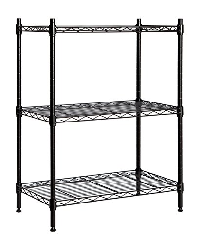 STORAGE MANIAC Large 3-Tier Shelving Unit, Heavy Duty Storage Rack Utility Shelf with Adjustable Leveling Feet and Casters, Black (Utility Plastic Shelf)
