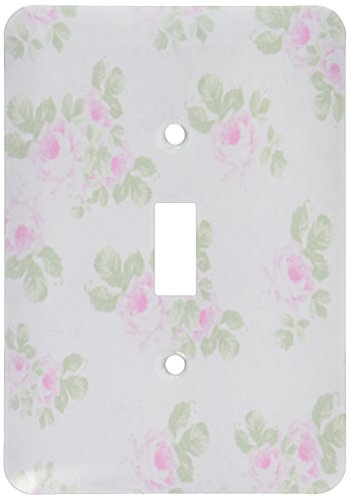 3dRose lsp_120173_1 Vintage Pink Roses Pattern Rose Flowers on Light Cream Damask Shabby Chic Sun-Faded Look Floral Light Switch Cover (Outlet Cover Floral)