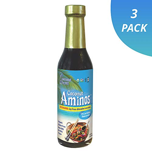 - Coconut Secret Coconut Aminos (3 Pack) - 8 fl oz - Low Sodium Soy Sauce Alternative, Low-Glycemic - Organic, Vegan, Non-GMO, Gluten-Free, Kosher - Keto, Paleo - 144 Total Servings