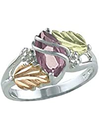 Created Alexandrite Marquise June Birthstone Ring, Sterling Silver, 12k Green and Rose Gold Black Hills Gold Motif
