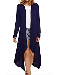 WSLCN Womens Cardigan Long Sleeve Knit Duster Sweater Asymmetric Lightweight