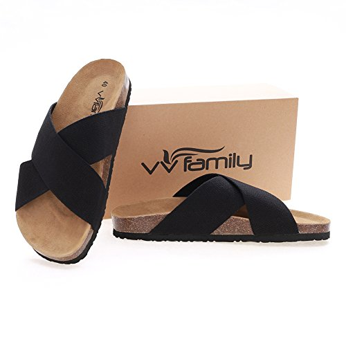 Women Vvfamily By Casual On Sandal Sandle Comfort Wide Slip Light Elastic Slipper Black House Sandalias Weight Shoes Footbed 1dwadqAr