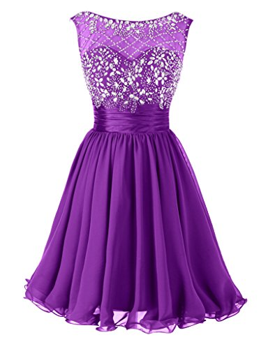 Dresstore Women's Short Beading Prom Dress Formal Homecoming Party Dress Purple US 8 (Formal Renta Gown)