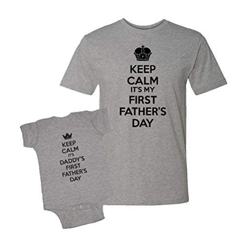 Keep Calm It's My First Father's Day Infant Bodysuit & T-Shirt Matching Set (Heather, Large/6M)