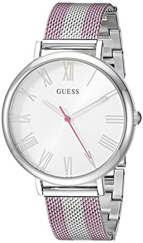 GUESS  Stainless Steel + Pink Mesh Bracelet Watch. Color: Silver-Tone/Pink (Model: -