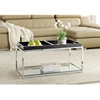 Convenience Concepts 131382BB Palm Beach Coffee Table with Trays,Black