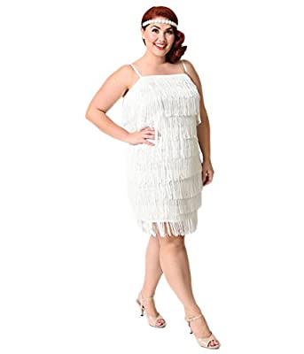 Unique Vintage Plus Size 1920s White Speakeasy Tiered Fringe Flapper Dress