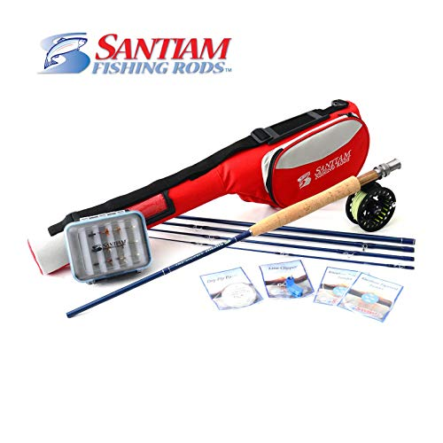 Santiam Fishing Rods Travel Fly Rod 5 Piece 9' 3/4 Line WT Graphite Fly Rod/Reel/Line Combo Includes 12 popular flies with deluxe fly box and 2 tapered leaders