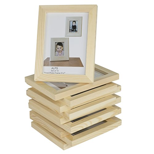 Wallniture Alps DIY Projects Unfinished Solid Crafting Wooden Picture Frames for 4x6 Inch Photos Set of 10 (Wooden Photo Frames)