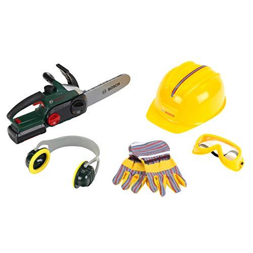 Theo Klein 8532 Sierra de cadena Bosch con accesorios, Sierra a pilas con función de luz y sonido,incluye guantes, orejeras, gafas de seguridad y casco, a partir de 3 años, 40 cm x 16 cm x 36,5 cm