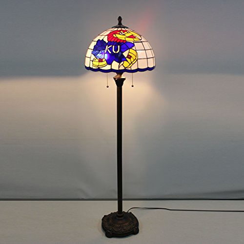 Gweat 16-inch NCAA Kansas Jayhawks Stained Glass Floor Lamp